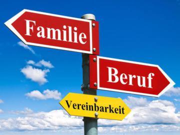"""Wegzeiger mit den Aufschriften """"Familie"""", """"Beruf"""" und """"Vereinbarkeit""""."""