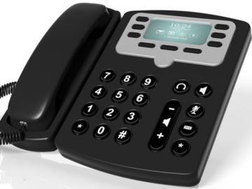 Schwarzer Telefonapparat.